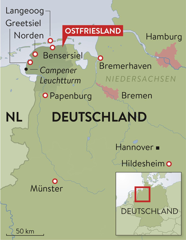 Ostfriesische Nordseeküste Karte.Schweizer Familie Magazin